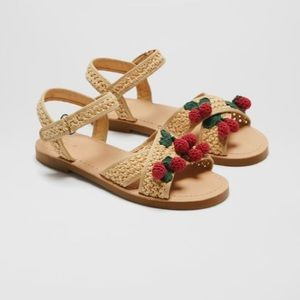 Zara Rare knit Velcro criss cross cherry sandals